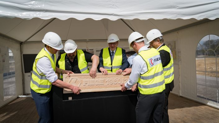 The sandstone seals the time capsule tightly in the foundation stone.